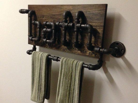 Промышленные трубы черного листового железа держатель ванной полотенце от Mobeedesigns