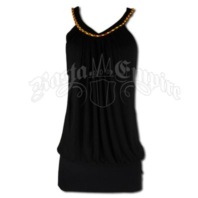 This black mini dress has a round collar with a band of rasta braid sewn along the collar. The bottom section is gathered to hug your hips. This rasta dress is a short mini dress and could be worn as a top.Hand Wash. Do not dry. Made of 100% viscose (rayon).