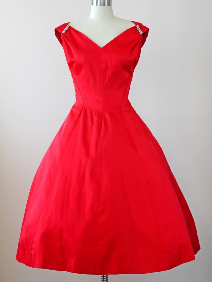 1950s Red Dress / 50s Party Dress // The Opening Night ...