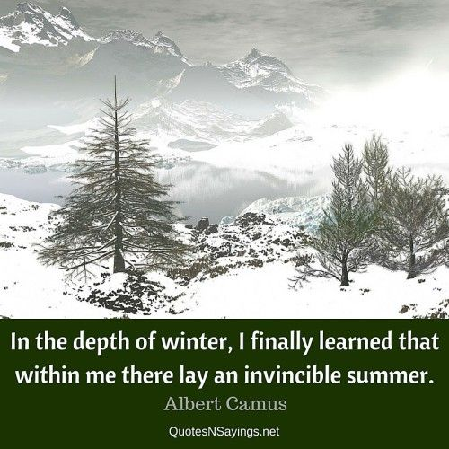 In the depth of winter, I finally learned that within me there lay an invincible summer - Albert Camus quote about strength