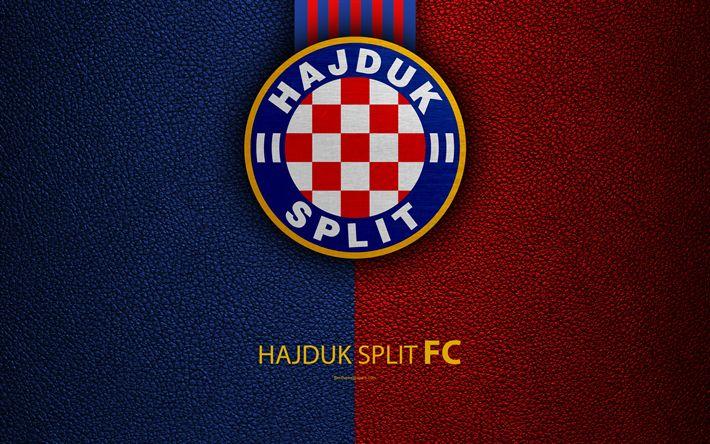 Download wallpapers Hajduk Split, 4k, emblem, Split, Croatia, HNL, logo, football, leather texture, Croatian football club, Croatian Football Championship, T-Com Prva HNL