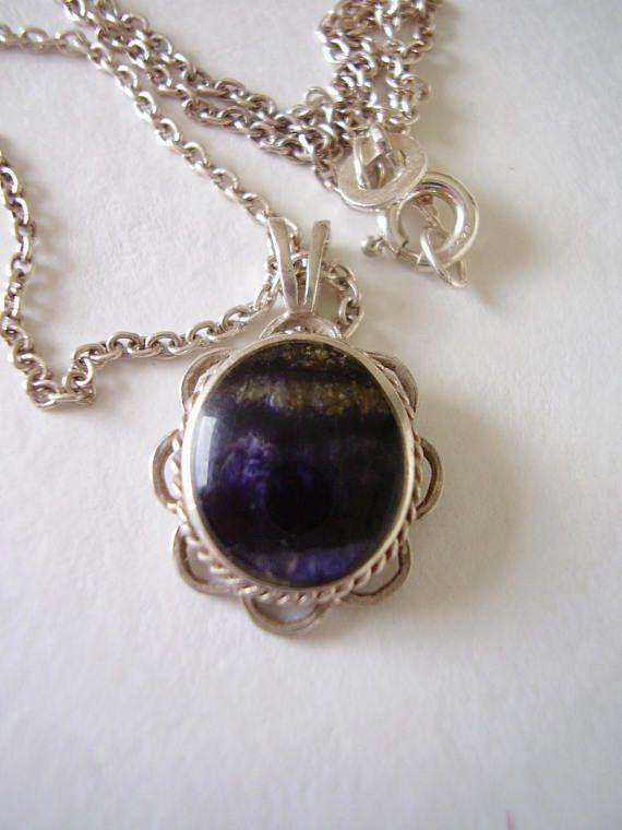 Necklace 925 Bezel Blue John Gemstone Natural Oval Cabochon