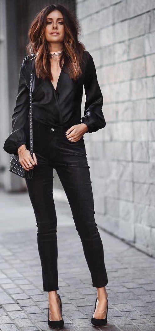 #fall #outfits ·  Black Satin Shirt & Pants + Heels