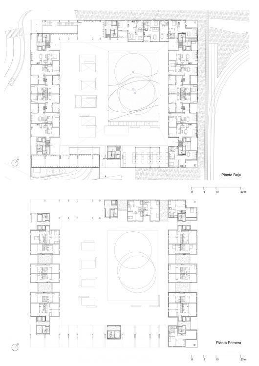 """First Floor Plan Social Housing Rental """"Le Bois Habité"""" / Pich-Aguilera Architects"""