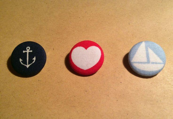 3er-Set Stoff Button Anker Herz Boot ♥ von Vintage Flavour ♥  auf DaWanda.com