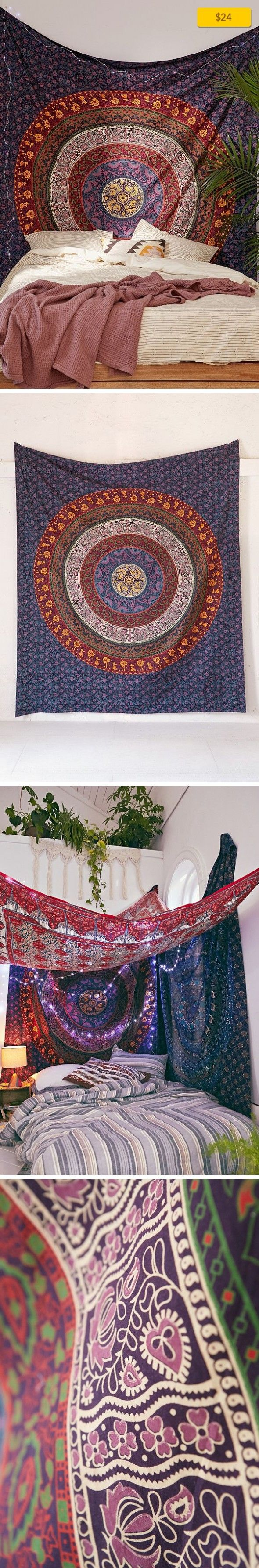 """Plum & Bow Medallion Tapestry Apartment, Art + Decor, Tapestries   Soft cotton tapestry made exclusively for UO by Plum & Bow. In a mesmerizing medallion motif we love, it's the perfect piece for topping off your bed, wall or favorite chair. Doubles as a beach or picnic blanket and is festival-friendly, too! Content + Care - Cotton - Machine wash - Imported Size - Dimensions: 84""""l x 100""""h"""