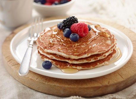 Fluffy Bran Pancakes ~ These pancakes, made with whole wheat flour and added bran, are surprisingly fluffy and tender.