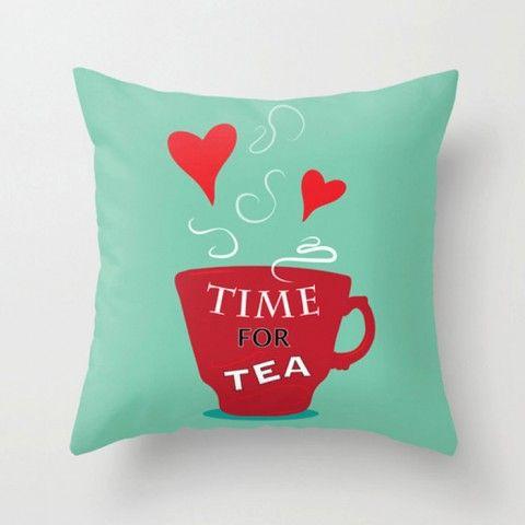 Time for tea - Modern pillow - decorative pillow