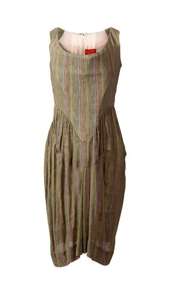 Vivienne Westwood Red Label Corset Sleeveless Dress, Green with Pinstripes SZ IT44 NOW: $475.00  #VivienneWestwood #LoveThatCloset #Designer #Consignment #Sale #Dress