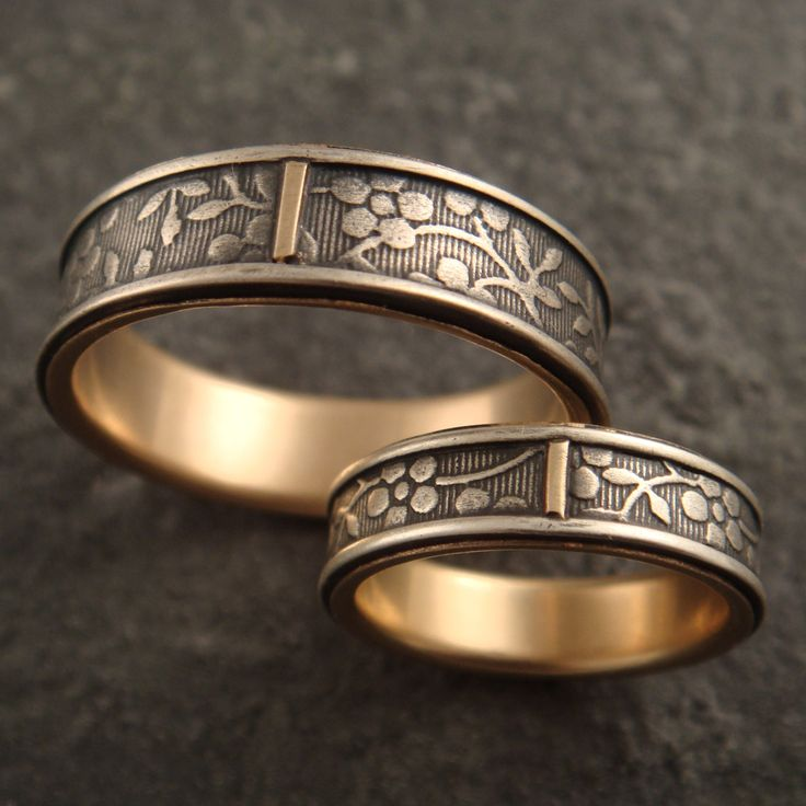 lovely wedding band set - by Down to the Wire Designs (this is the artist/jeweler who made Travis's band)