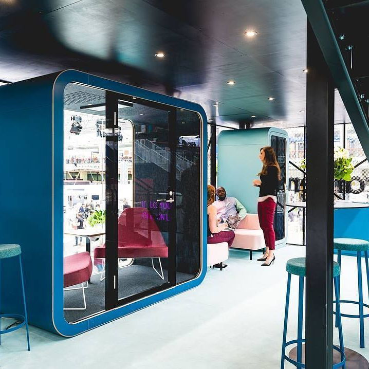 have the privacy you need & the colours you want with these soundproof #framery booths  #welcometoprivacy #framery #booth #options #colours #privacy #meeting #phonebooth #blue #aqua #quiet #acoustics #frameryo #frameryq #design #themetacollective #burgtecaus #perth #interiors #office #frameryacoustics