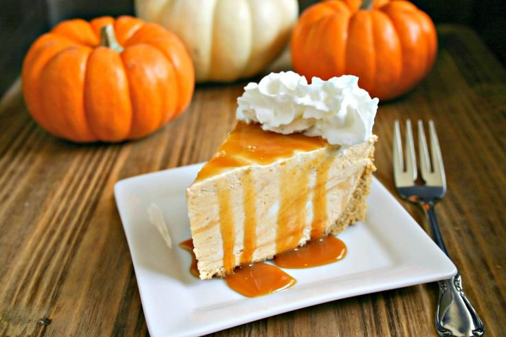 Frozen Pumpkin Pie Cheesecake - no baking required with this smooth and creamy seasonal pie.
