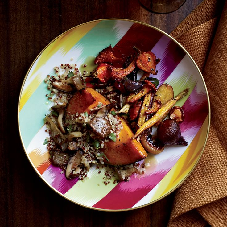 Maple-glazed winter squash stuffed with quinoa and sautéed wild mushrooms makes an excellent vegetarian meal.