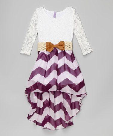 Another great find on #zulily! White & Purple Chevron Belted Hi-Low Dress - Girls by Maya Fashion #zulilyfinds