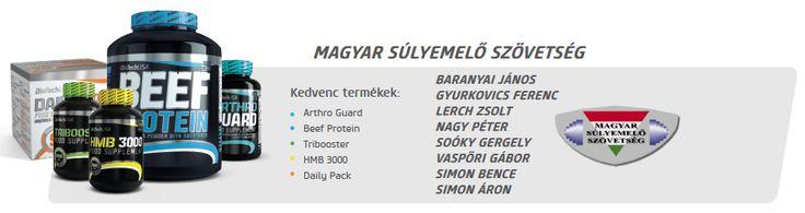 A Magyar Súlyemelő Szövetség is Biotech USA termékeket használ.