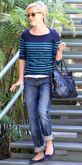 navy and green sweater, cuffed denim, navy flats - Reese Witherspoon