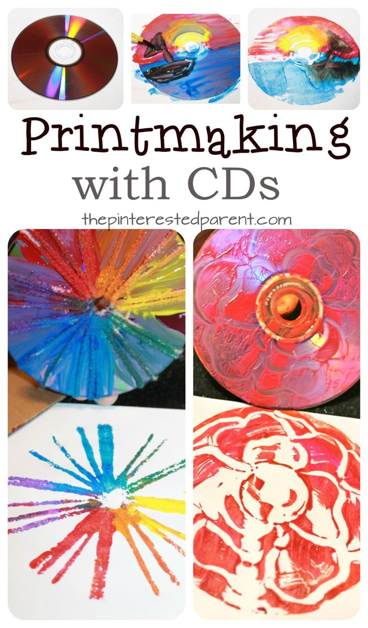 Printmaking with CDs - techniques using paint , yarn, Q-tips and paint.  Printmaking IdeasKid ...