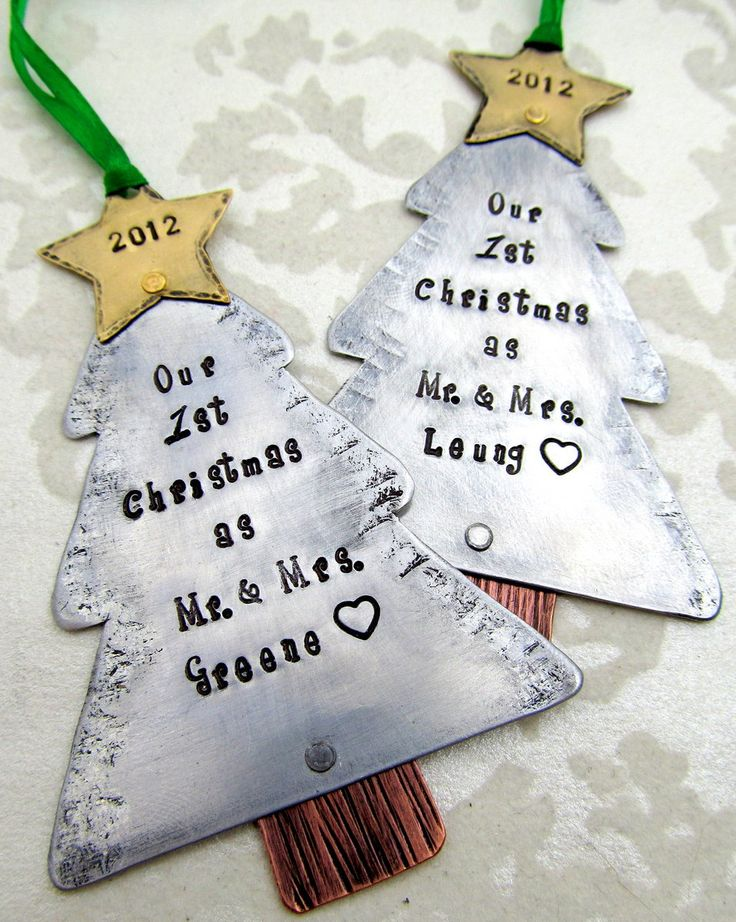 Our First Christmas - Couples Christmas Ornament Mixed Metals - Hand Stamped Personalized Holiday Ornament First Christmas as Mr and Mrs. $25.00, via Etsy.