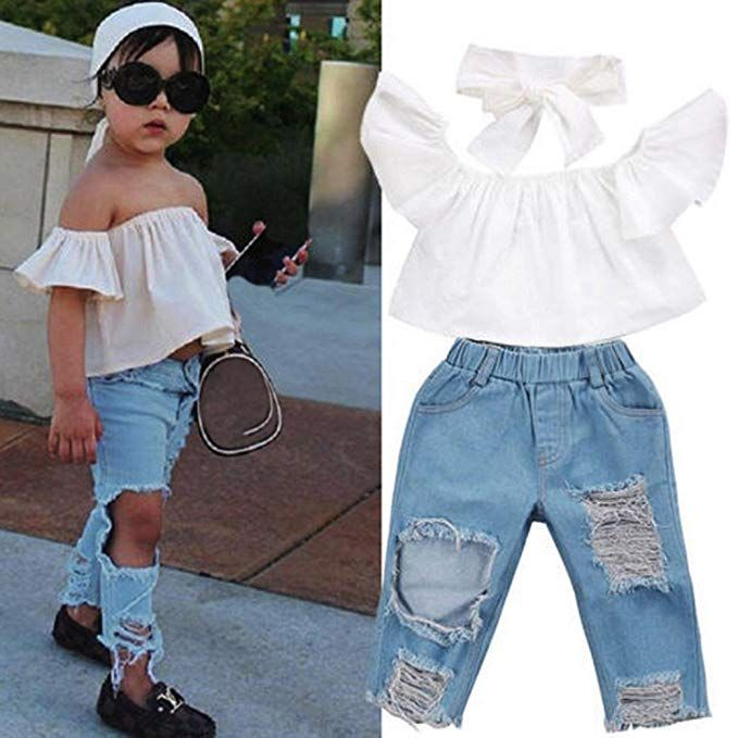 0d40a175ecc Fashion Tops+Denim Pants+Headband
