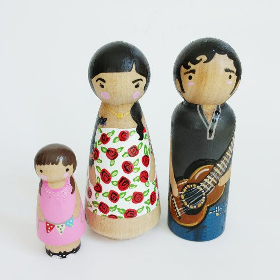 """CUSTOM peg doll family of 3 with arms // tattooed peg dolls // 3 1/2"""" peg dolls plus child // doll house family //  wooden toys"""
