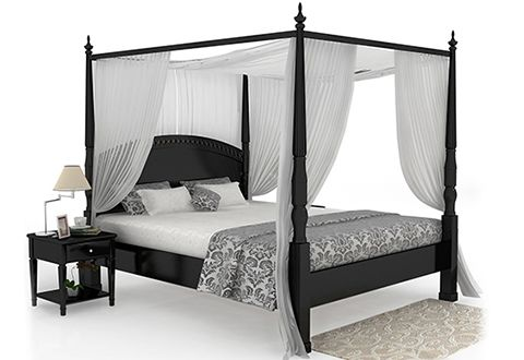Vanesa Poster Queen Size Bed Without Storage (Black Finish)