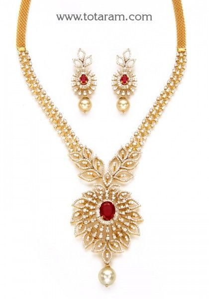 18K Gold Diamond Necklace & Earrings Set with Japanese Culture Pearls & Color Stones - 235-DS722 - Buy this Latest Indian Gold Jewelry Design in 60.700 Grams for a low price of $9,449.23 #GoldJewelleryWithPrice