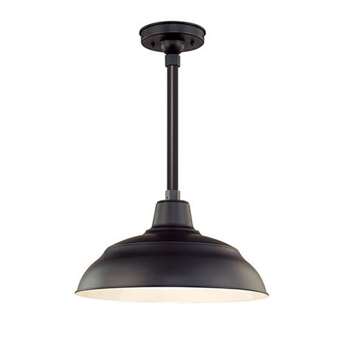 44 best outdoors lighting images on pinterest outdoor walls millennium lighting r series satin black 17 inch warehouse outdoor pendant with 12 inch stem workwithnaturefo