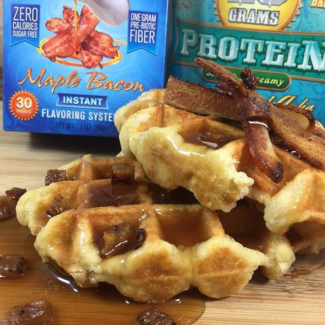 Maple Bacon Protein Waffles! The newest flex flavor to arrive is Maple Bacon... And we didn't waste anytime creating something special in the kitchen! Check it out at www.DevotionNutrition.com