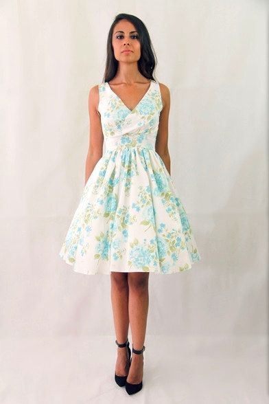 1950s floral bridesmaid dress, 50s prom dress, mad men dresses, pinup tea party dress, rehearsal dinner dress, cocktail dress MADE TO ORDER