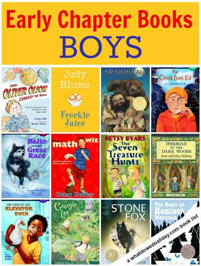 A list of early chapter books about boys for kids.