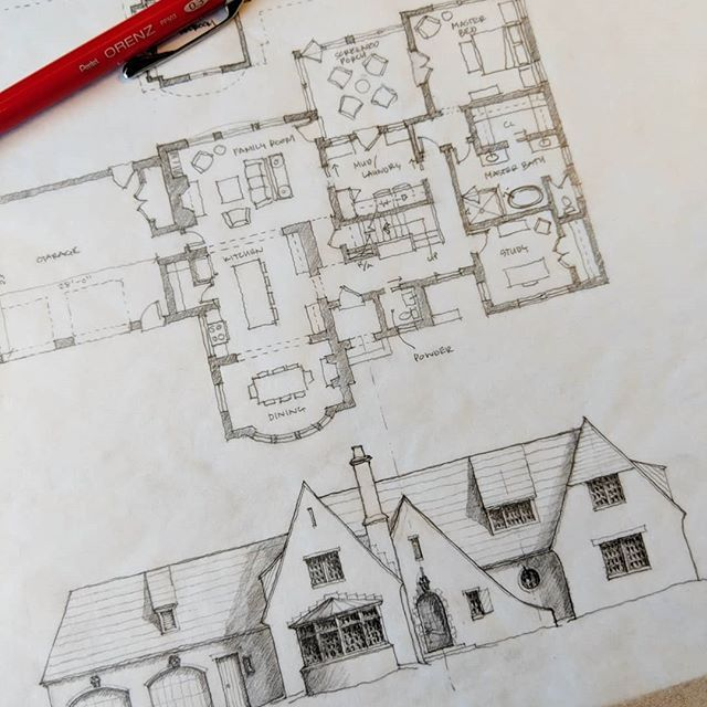 An Initial Concept Presentation Architect Archdaily Handdrawn Sketch Design Residentialarchite House Sketch Floor Plan Drawing House Design Kitchen