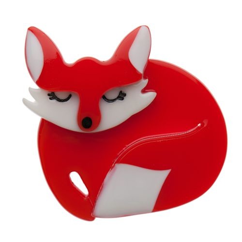 Limited edition, original Erstwilder Sacha Sleeping Fox brooch in red. Designed by Louisa Camille Melbourne. Buy now
