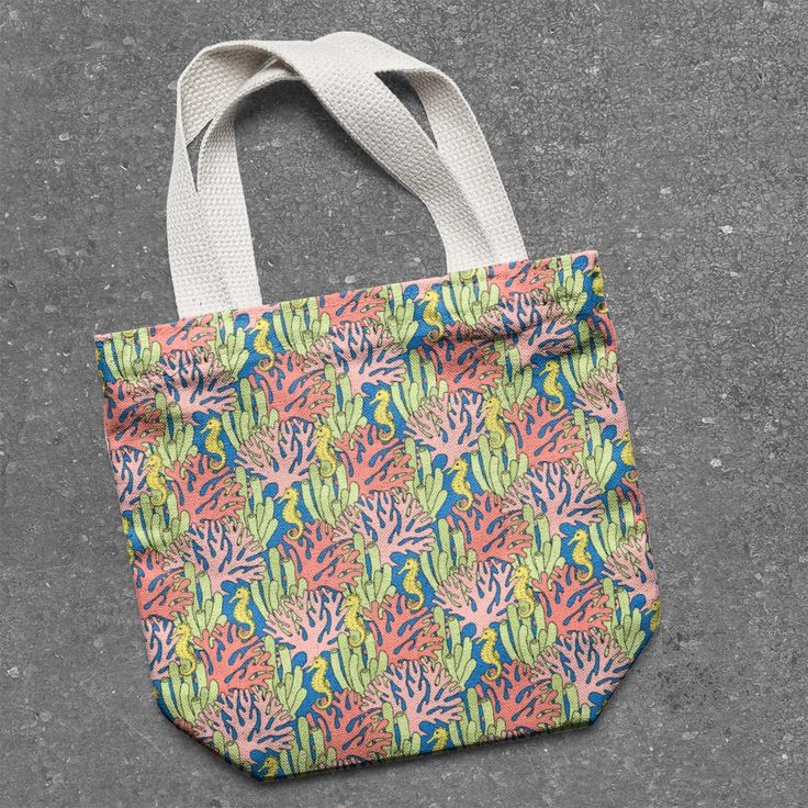 A tote bag mockup using one of the patterns from Northern Whimsy's Coral Reef collection - contact us to discuss licensing!