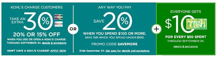 Kohls 30% Off Coupon Code With Kohls Charge Card plus Free Shipping September 2017 #kohlscoupons #kohls