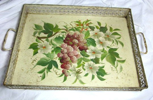 SALE vintage handpainted metal TOLEWARE TRAY by MEMORYVILLE