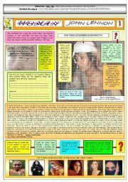 English worksheet: WOMAN - JOHN LENNON - PART 01 - FULLY  EDITABLE AND FULLY CORRECTABLE