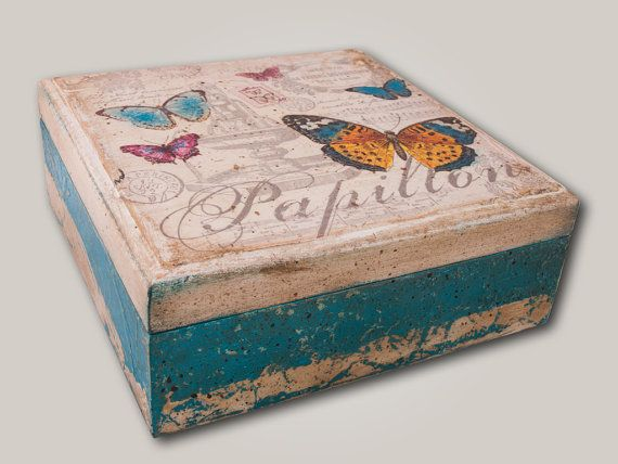 Wooden treasure vintage decoupage box by for Old wooden box ideas