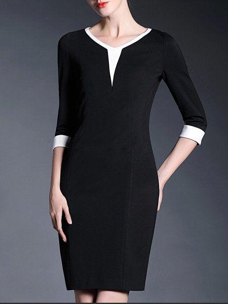 Paneled Color Block Knee Length Dress - GYALWANA $86.99
