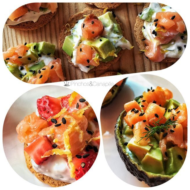 Canap s de salm n ahumado con fresas o aguacate salmon for Smoked salmon roulade canape