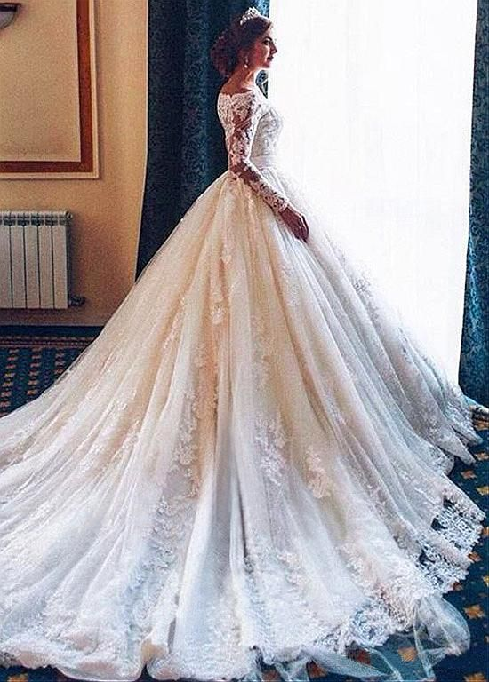 [244.80]  Attractive Tulle Off-the-Shoulder Ball Gown Wedding Dress with Lace Appliques & Belt