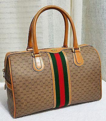 Auth Large Gucci Doctors Satchel Boston GG monogram Bag Purse Vintage Excellent
