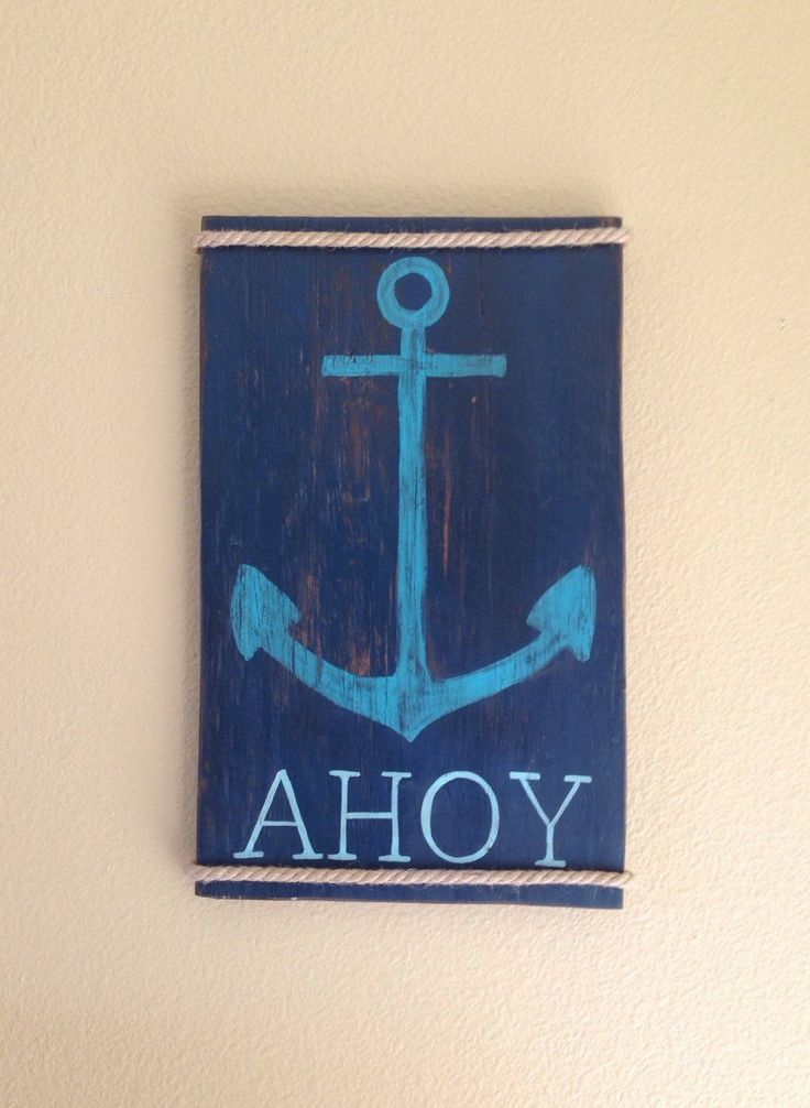 Rustic Wooden Anchor Sign, wood beach decor, nautical decor, Ahoy, surf decor by NCSustainableStyle on Etsy