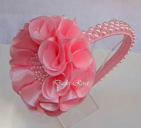 Tiara flor camélia rosa