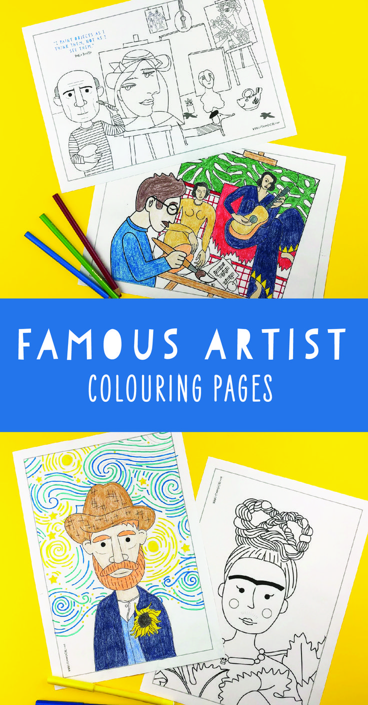 Well-known artist coloring pages for youths. Picasso, Matisse, Van Gogh, Warhol and Fr…