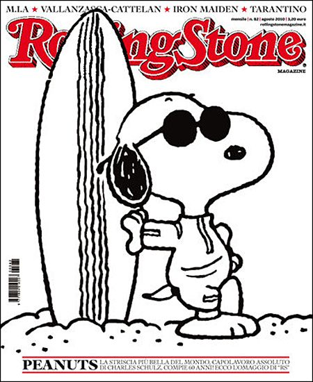 Snoopy (created by Charles Schulz) stars cover Rolling Stone magazine from Italy