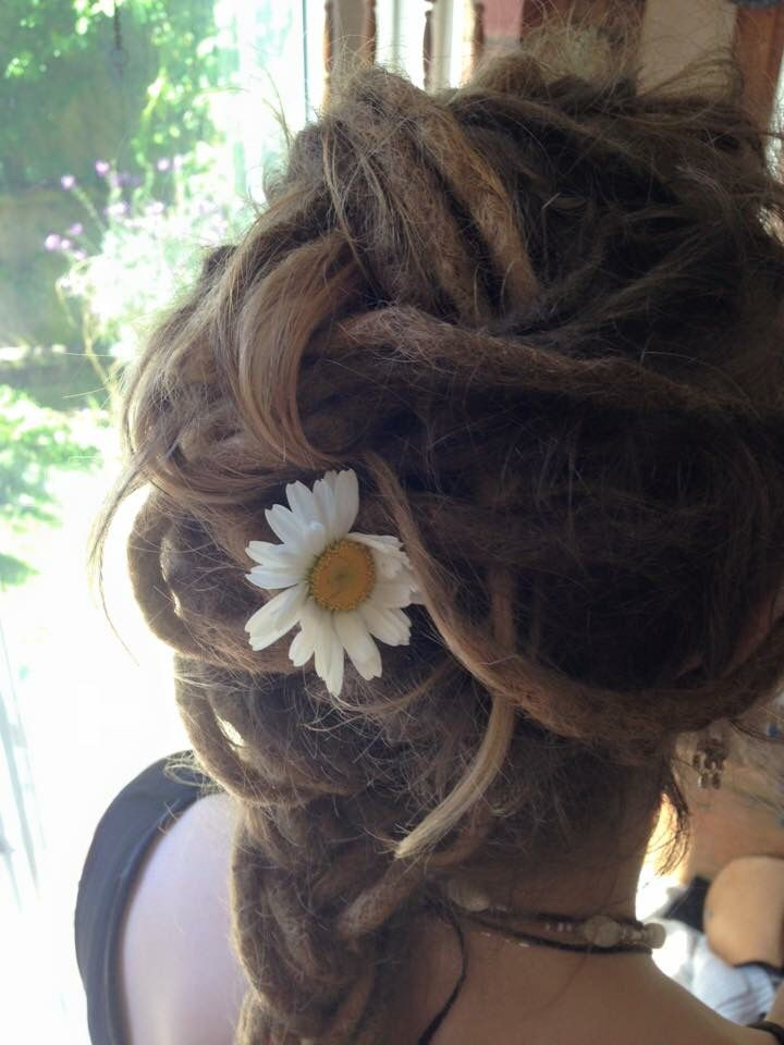 French Plait with a daisy