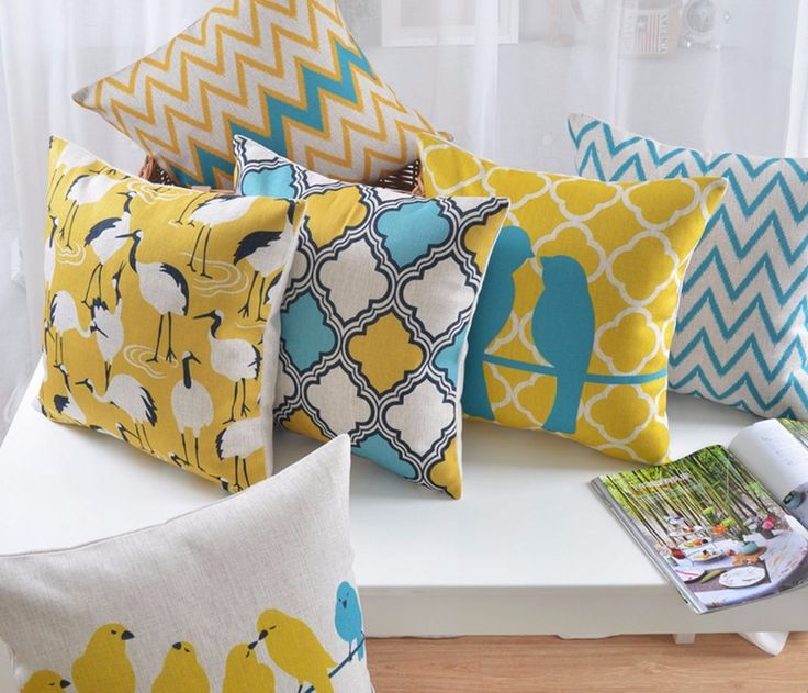 Decorative Bird Geometric Zig zag Yellow Blue White cushion covers geometric cushion Scandinavian cushion for sofa coussin jaune-in Cushion Cover from Home & Garden on Aliexpress.com | Alibaba Group