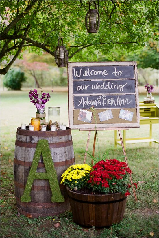 pre-ceremony (by welcome drinks)  then move to reception opening (winery has barrels, can use map decoration or HE/SHE decoration on top of the barrel