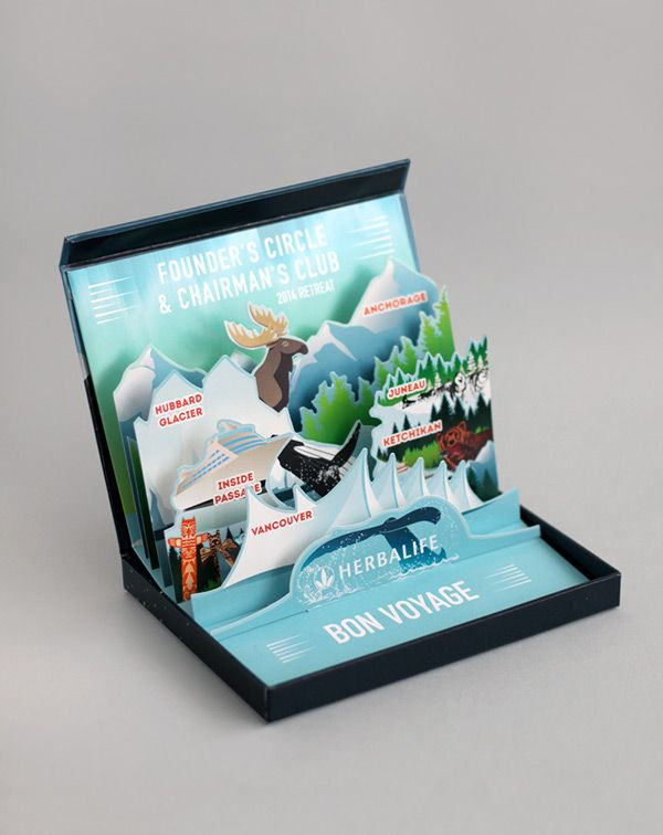 Bon Voyage Alaska themed Pop-up card by Cathy Van Hoang. travel design vector illustration cruise