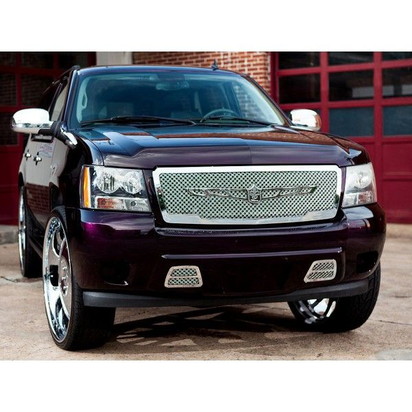 Tiarra TG0710TAH-02 | 2008 Chevy Avalanche Chrome Steel Mesh Grilles for SUV/Truck/Crossover